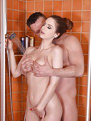 Busty Euro beauty Stella Cox fucking and sucking in shower for cumshot