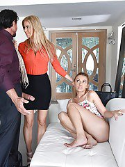 Clothed teen girl Ashlynn Taylor undressed by Alexis Fawx during double BJ