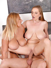 Buxom chicks Suzie and Krystal Swift press huge hooters together in 3some