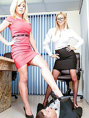 Blond MILFs Alexis Fawx and Cherie Deville have 3some with big cock on desk