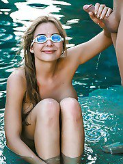Beach girl Blair Williams taking cumshot on goggles after sex in pool