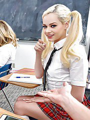 Blonde schoolgirl Elsa Jean having sex on teachers desk with Logan Pierce