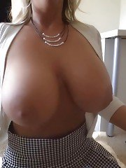 Blonde housewife Sandra Otterson baring huge boobs before giving oral sex