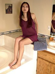 Slender Oriental amateur Mai wetting hairy bush and tight ass in bathtub