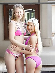 Thin blonde lesbians Lily Rader and Piper Perri exposing bald teen pussies