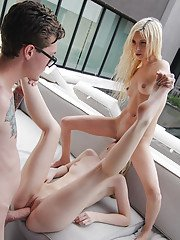 Blonde teens Lily Rader and Piper Perri hookup with big cock in threesome