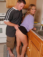 Older lady Vickie taking cumshot on ass in kitchen after fucking big cock
