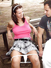 Big boobed brunette teen Rita E fucking on picnic table in woods