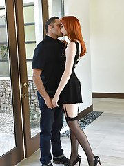 Redhead wife Anny Aurora getting fucked in over the knee nylons and garters