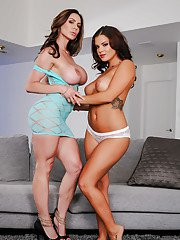 Brunette Latinas Kendra Lust and Keisha Grey grinding after undressing