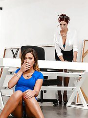 Lesbians Jayden Cole and Jaye Summers spank bare asses at work