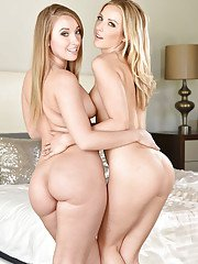 Blond dykes Harley Jade and Karla Kush showing off phat asses while disrobing