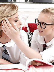 Schoolgirls Bailey Brooke and Haley Reed eat and finger lesbian pussies