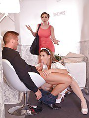 European maid and naughty wife give large penis double blowjob