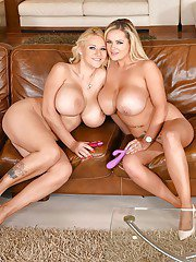 Euro lesbos Dolly Fox and Katie Thornton shove vibrators up bald snatches
