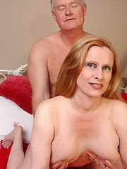 Aged lady Lavender unveiling large boobs before getting fucked and jizzed on