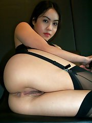 Asian first-timer in black lingerie Milla does lots of ass and pussy spreading
