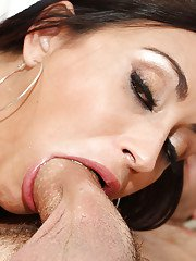 Cock-smitten Latina brunette Claudia Valentine gives unforgettable blowjob