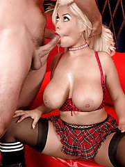 Top cock sucking until fully jizzed on face and tits with blonde Bridgette B