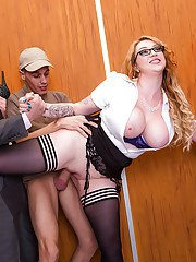 Glasses wearing secretary Harmony Reigns getting gangbanged in elevator