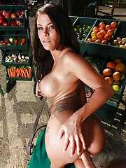 Busty chick Peta Jensen giving BJ before riding cock at farmers veggie stand