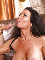 Brunette MILF Veronica Avluv tries out dick of curly guy and gets jizz on tits