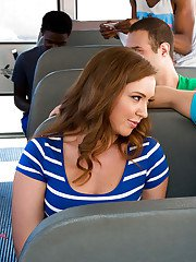 Red-haired babe Maddy OReilly gets licked and pounded in the bus