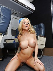 MILF in stewardess uniform Helly Mae Hellfire finishes cock with her mouth