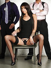 Latina in lingerie Esmi Lee gets drilled by two tall guys with badges and guns