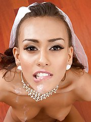 Gentle bride in veil Janice Griffith spreads her ass cheeks and gets whipped