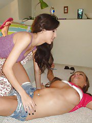 Latina dykes April Oneil  Victoria Rae Black peel off shorts before oral sex
