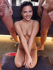 Cock-friendly babes Apolonia and Frida Sante show their love to blowjobs