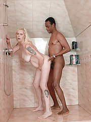 Old lady Violett gets in the shower room with the black man and fucks him