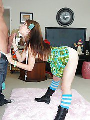 Charming teen in black boots Sensi Pearl bends over and licks dick head
