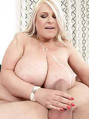 Older European BBW Samantha Sanders getting fucked after unveiling knockers