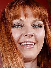 Redhead MILF Marie McCray undressing for stretching of hairy snatch