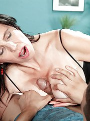 Dark haired older woman Raven Flight letting large tits hang while riding BBC