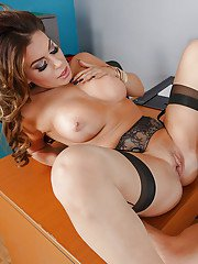 Naughty teacher Nikki Capone coercing sex win sexy stockings with BJ