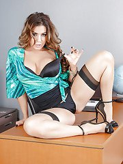 Hot teacher Nikki Capone stripping down to garters and stockings in classroom