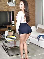 Hot Latina chick Jynx Maze showing off sexy ass and great legs after disrobing