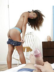 Black teenager Kendall Woods fucking house guest as her mom walks in on them