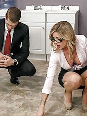 Glasses wearing secretary Jessa Rhodes getting fucked by coworker on table