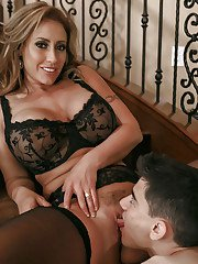 Slutty wife Eva Notty banging man with large dick while hubby watches TV