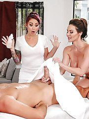 Tattooed masseuse Monique Alexander joined by MILF Kendra Lust for threesome
