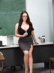 Glasses wearing teacher Angela White revealing hooters in classroom