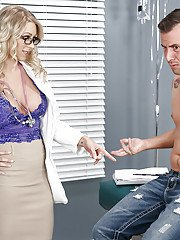 Blond doctor Katie Morgan letting nice tits loose from uniform while giving BJ