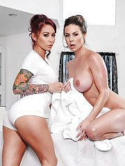 Nude milfs Monique Alexander and Kendra Lust superb nudity lesbian scenes