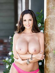 Stunning raven with giant boobs Ava Addams takes down the undies on cam