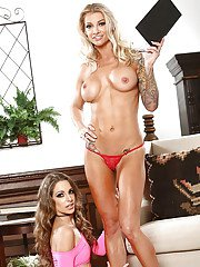 Horny blondes Synthia Fixx and Kimmy Granger adorable lesbian nudity scenes