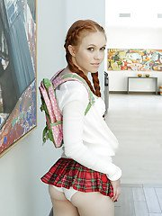 Schoolgirl Dolly Little removes skirt and undies for a superb solo play